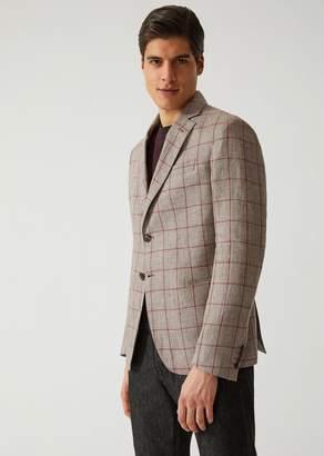 Emporio Armani Half-Lined Jacket In Checked Linen