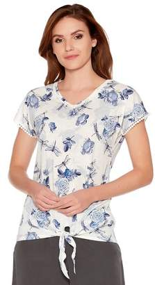 M&Co Dragonfly rose print tie front top
