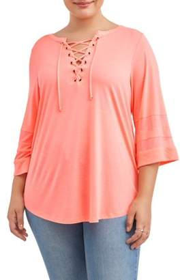 Laundry by Shelli Segal New York Laundry Women's Plus Size Lace Up Shirt Tail Top with Mesh Sleeve Inserts