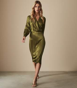 Reiss RENAE SATIN WRAP DRESS Olive