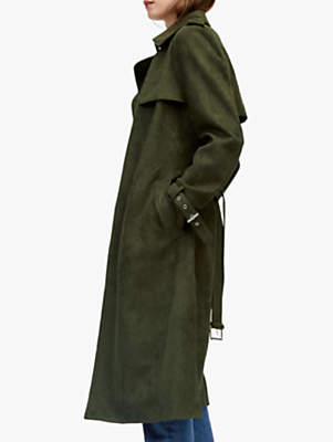 Warehouse Suedette Trench Coat, Khaki