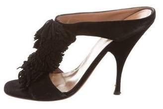 Alaia Fringe Slide Sandals