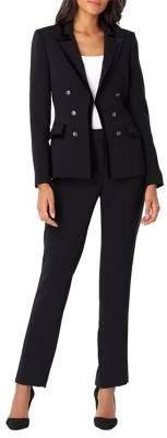 Tahari Arthur S. Levine Velvet Trim Military Pant Suit