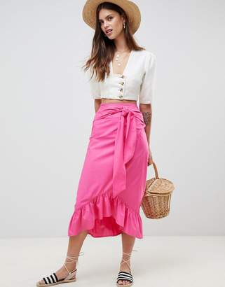 Asos Design DESIGN cotton midi skirt with tie belt and ruffle hem