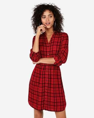 Express Plaid Button Up Shirt Dress