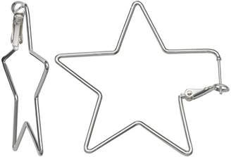 SILVER REFLECTIONS Silver Reflections Silver Plated 50mm Star Pure Silver Over Brass 47mm Star Hoop Earrings