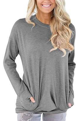 Sunfury Womens Plus Size Oversized Sweatshirt XXL Amazon Causal Fall Autumn Cotton Long Sleeve Solid Color Loose Jumper Sweatshirt Pullover Tunic Tops for Juniors