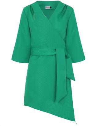 CoCo VeVe - Mary-H-Wrap Dress Kimono in Emerald Green