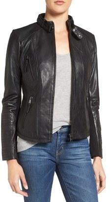 Women's Bernardo Zip Front Leather Biker Jacket $428 thestylecure.com