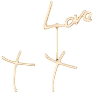 Stephen Webster 'Neon Love and Kiss' 18k yellow gold mismatched drop earrings