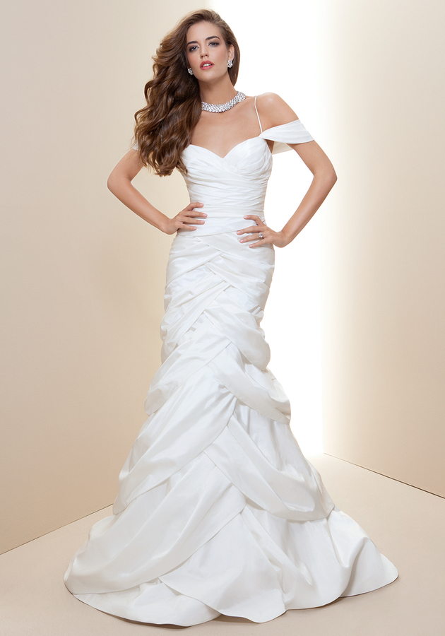 Rami Kashou Off Shoulder Trumpet Bridal Gown