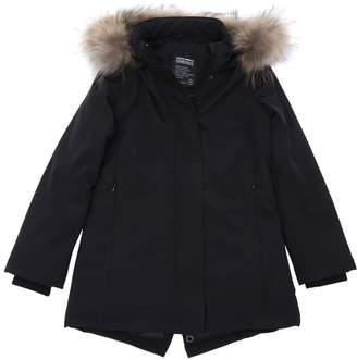 Hooded Nylon Puffer Parka W/ Fur Trim