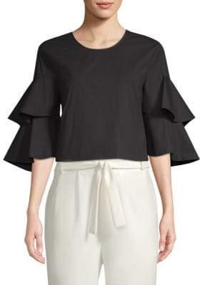 Natori Cotton Poplin Tiered-Sleeve Top