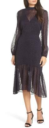 AVEC LES FILLES Flocked Star Ruffle Dress