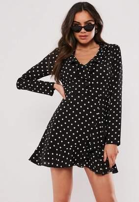 Missguided Black Polka Dot Ruffle Tea Dress