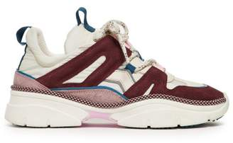 Isabel Marant Kindsay Shell And Suede Low Top Trainers - Womens - Burgundy Multi