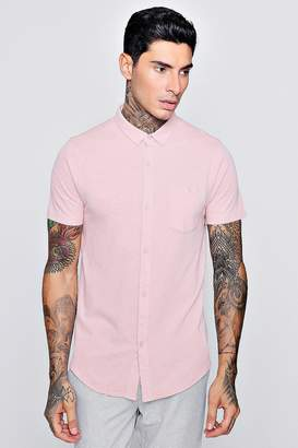 boohoo Short Sleeve Cotton Pique Jersey Shirt