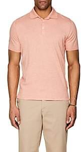 Fioroni Men's Cotton-Cashmere Polo Shirt - Medium Orange
