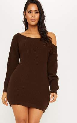 ff3da6c286bc PrettyLittleThing Chocolate Off The Shoulder Jumper Dress