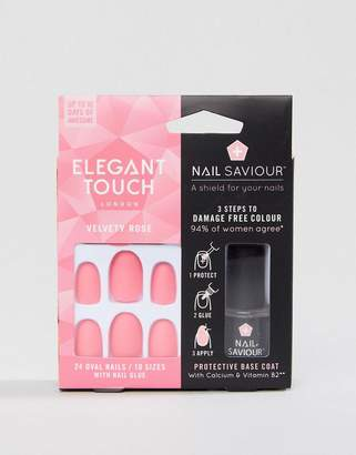 Elegant Touch Nail Saviour Almond Velvety Rose Matte False Nails