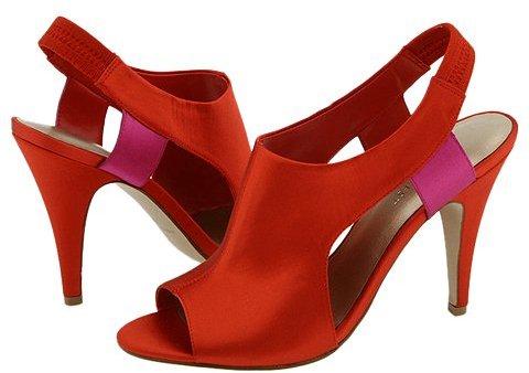 Nine West Hotpic Orange/Pink Satin - Footwear