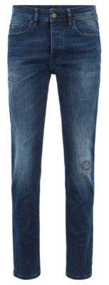 BOSS Tapered-fit jeans in overdyed stretch denim