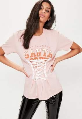 Missguided Santa Cruz Lace Up Graphic T-Shirt