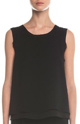 Giorgio Armani Sleeveless Layered Combo Blouse, Black $1,575 thestylecure.com