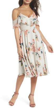 Jenny Yoo Collection Kelli Ohana Print Chiffon Cold Shoulder Dress
