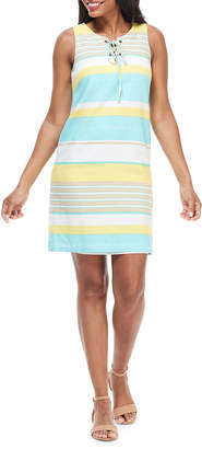 London Times Striped Lace-Up Shift Dress