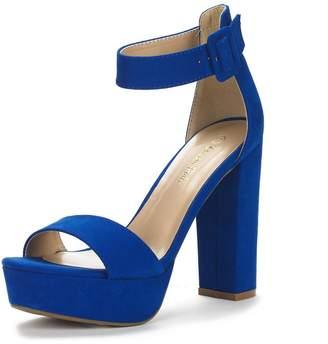DREAM PAIRS HI-LO Women's Evening Dress High Chunky Platform Heel Open Toe Ankle Strap Stiletto Wedding Pumps Sandals Size 5