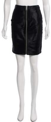 AllSaints Ponyhair-Trimmed Leather Skirt Black Ponyhair-Trimmed Leather Skirt