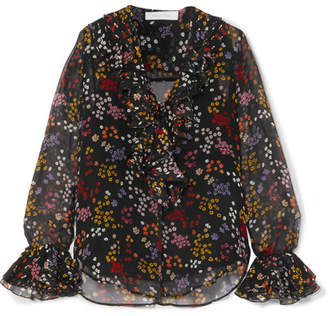 See by Chloe Ruffled Floral-print Fil Coupé Silk-georgette Blouse - Black
