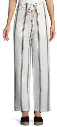 Rag & Bone Oasis High-Waist Straight-Leg Striped Cotton-Linen Pants