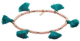 Fossil Turquoise Fringe Calcite Beaded Bracelet jewelry ROSE GOLD