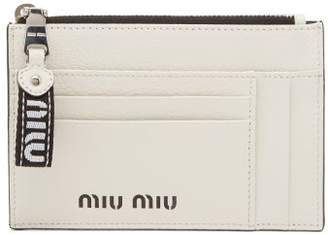 Miu Miu Logo Debossed Grained Leather Cardholder - Womens - White