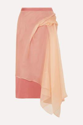 Sies Marjan Nadine Asymmetric Silk-organza And Crepe Midi Skirt - Antique rose