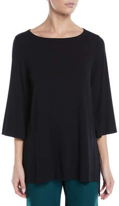 Eileen Fisher Viscose Jersey 3/4-Sleeve High-Low Top