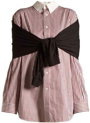 Balenciaga Striped tie-front cotton shirt