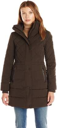 Lucky Brand Women's Mid Length Down Puffer Quilted Detail, Detachable Hood