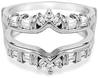 TwoBirch Cubic Zirconia Mounted In Sterling Silver Classic Chevron Style Ring Guard (0.7ctw)
