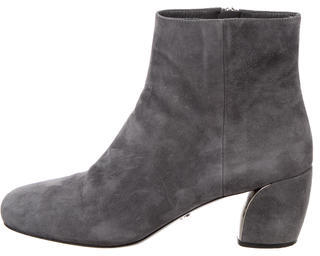 pradaPrada Suede Round-Toe Ankle Boots w/ Tags