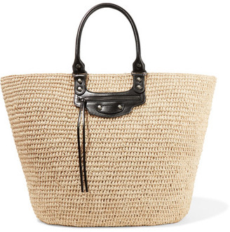 Panier Large Leather-trimmed Raffia Tote - Sand