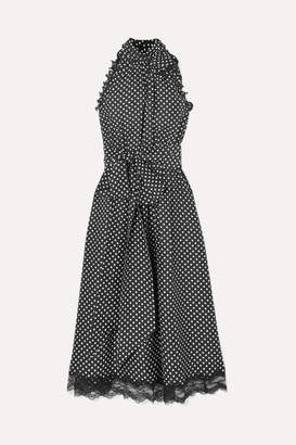Marc Jacobs Lace-trimmed Ruffled Polka-dot Silk Dress - Black