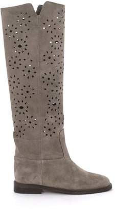 Via Roma 15 Velour Grey Tundra Suede Pierced Leather Ankle Boots.