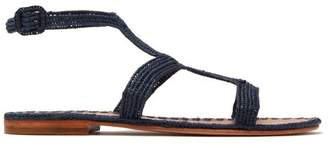 Carrie Forbes - Hind Raffia T Bar Sandals - Womens - Navy