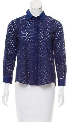 Victoria Beckham Eyelet Long Sleeve Top