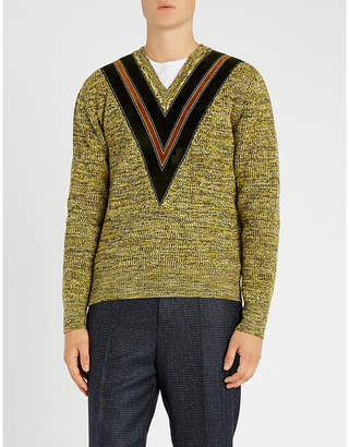 Bally V-detail wool-knit jumper