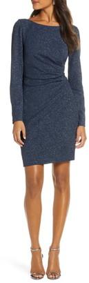 Eliza J Long Sleeve Glitter Ruched Sheath Dress