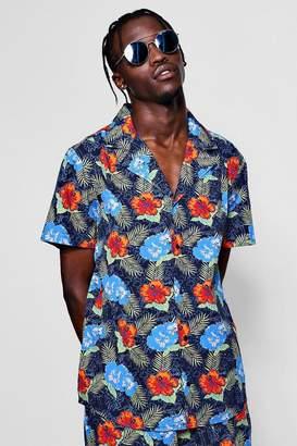 boohoo Tropical Floral Revere Short Sleeve Shirt